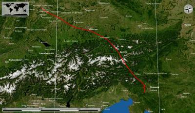 Flight track from Stuttgart to Slovenia on a satellite view.