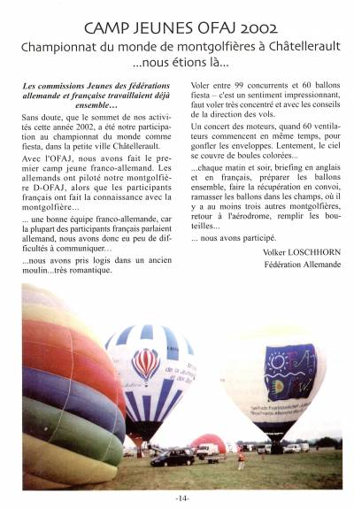 L'article du camp en 2002 dans l'aéronote no.66